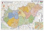 Magyarország falitérkép, Magyarország közigazgatása és közlekedése falitérkép fémléccel Stiefel 140x100 cm