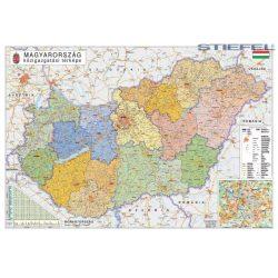 Magyarország falitérkép S. 140x100, Magyarország közigazgatása és közlekedése falitérkép fémléccel