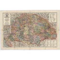 A Magyarország, Horvát-Tótország és a katonai Őrvidék 1876. fémléces falitérkép Stiefel 66x46 cm