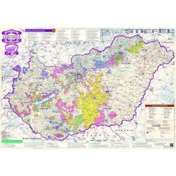 Magyarország borászati régiói fóliás falitérkép fémléccel Stiefel  100x70 cm  2014