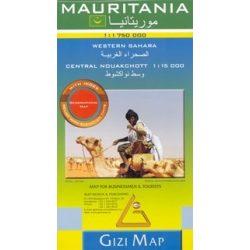 Mauritánia térkép Gizi Map Mauritania map 1:1 750 000
