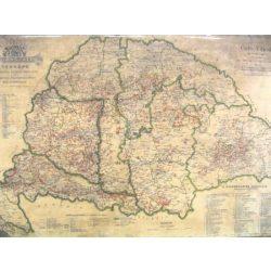 Magyarország borászati térképe fóliázott falitérkép 1884 év 100x70 cm