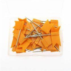 50 db narancs színű zászló térképtű, matricázható táblatű, narancs színű beszúrható zászló