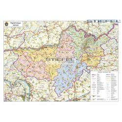 Nógrád megye fémléces falitérkép Stiefel 100x 70 cm  1:100 000