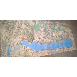 Balaton fóliás falitérkép keretezett HM 1:50 000 210x75 cm