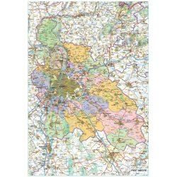 Pest megye falitérkép fémléces fóliázott Stiefel 1:150 000 70x100cm