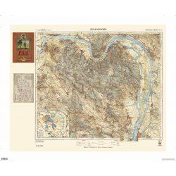 Pilis hegység turista térképe antik faximile falitérkép HM 1928 Pilis térkép