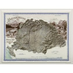 Magyarország hegyrajzi és vízrajzi térképe dombortérkép, képeslap MH. 22 x 18 cm 1899 év