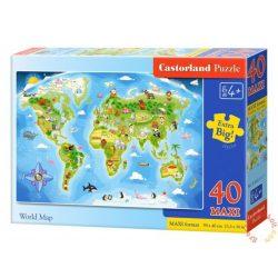 Világtérkép - 40 db-os Maxi puzzle Castorland