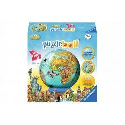 Földgömb puzzle állatos - 108 db-os 3D gömb puzzle - Földgömb gyerekeknek 15 cm