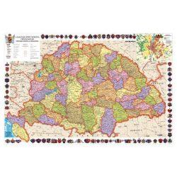A Magyar Szent Korona Országai falitérkép és (Magyarország a kiegyezéstől az I. világháborúig) 2 oldalas faléces, fóliás 160x120 cm