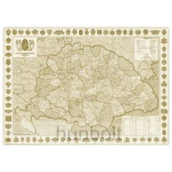 A Magyar Szent Korona Országainak Közigazgatása 1914. falitérkép, könyöklő Nyír-Karta  70x50 cm