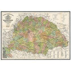 A Magyar Szent Korona Országai 1876. falitérkép, könyöklő Stiefel 66x46 cm
