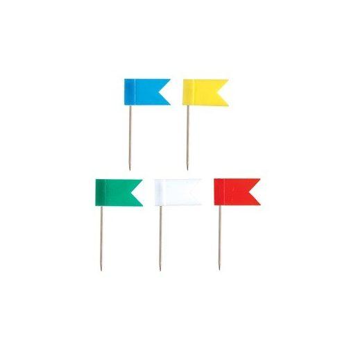 Térképtű zászló, táblatű, térkép jelölő tű - egyszínű -  10 db/doboz