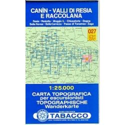 027. Canin - Valli di Resia e Raccolana turista térkép Tabacco 1: 25 000