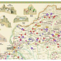 Várak a történelmi Magyarországon falitérkép Paulus 1:1 000 000 100x66 cm / hajtott térképből fóliázva /