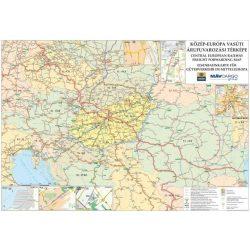 Közép-Európa vasúti térképe fémléces, Közép-Európa falitérkép  1:5 500 000 2005  100 x 70 cm