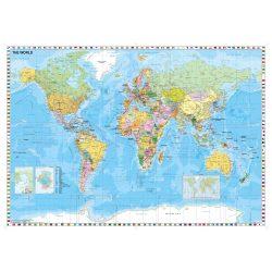 Világ országai falitérkép fémléces Stiefel 160x120 cm nagy méret