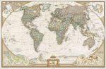 Világ országai antikolt falitérkép National Geographic 186x125