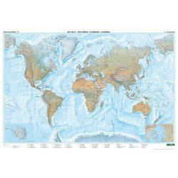 A Világ hegy-vízrajza fóliázott falitérkép Freytag 1:25 000 000 176x122,5