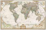 Világ országai antikolt fóliás falitérkép National Geographic angol nyelven 117x76