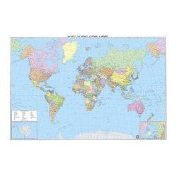 Világ falitérkép fóliás, politikai színezésű világ országai laminált falitérkép Freytag 1:25 000 000 176x122,5 cm