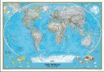 Világ országai falitérkép keretezett National Geographic 186x127 cm - kék színű, nagy