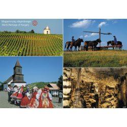 Magyarország világörökségek-tányéralátét könyöklő + hátoldalon Magyarország történelmi emlékhelyei térkép
