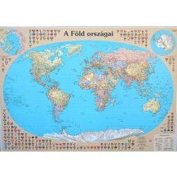 A Föld országai fóliázott falitérkép faléccel Nyír-Karta  120x86 cm, Világ falitérkép