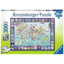 Világtérkép, Ravensburger Puzzle 300 darabos XXL képkirakó  49 x 36 cm a Föld domborzata