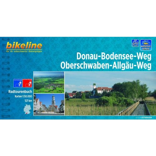 Donau-Bodensee-Radweg kerékpáros atlasz Esterbauer 1:50 000  Duna kerékpáros térkép