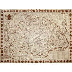 A Magyar Szent Korona Országainak Közigazgatása 1910. falitérkép, könyöklő Stiefel 68x48 cm