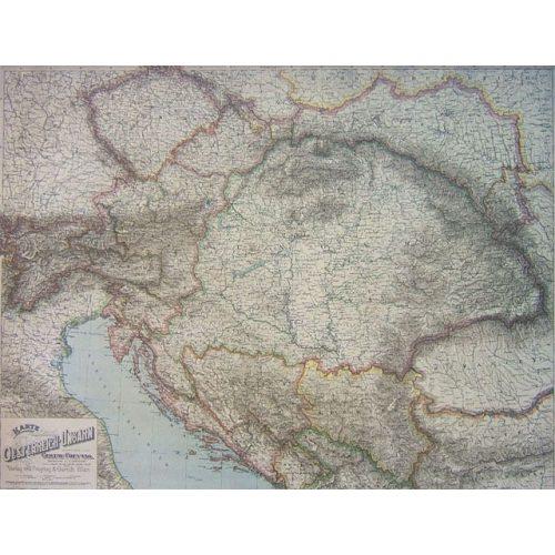 Az Osztrák-Magyar Monarchia antik faléces falitérkép Freytag 87 x 67 cm