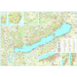Balaton falitérkép fóliás Szarvas kiadó Balaton térkép falra 125x85 cm  1:50 000,1:100 000