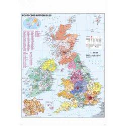 Nagy-Britannia postai irányítószámos fémléces falitérkép Stiefel 100x140 cm
