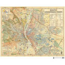 Budapest Székesfőváros térképe (1934) Budapest falitérkép antik 91x74    1 : 25 000