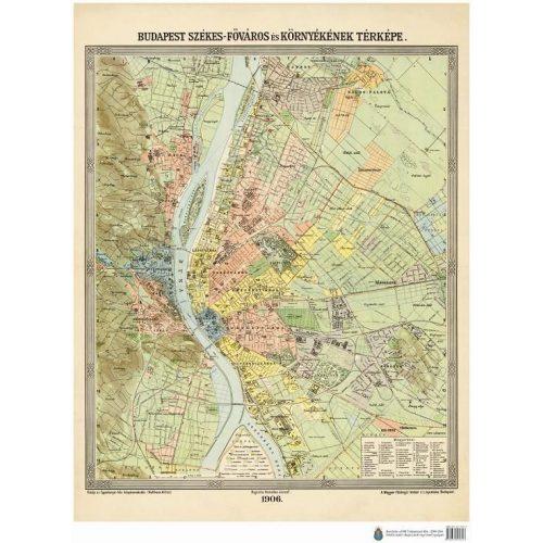 Budapest Szekes Fovaros Es Kornyeke Terkep 1906 Budapest