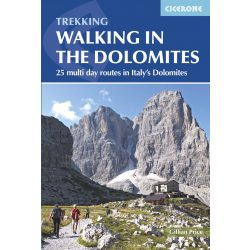 Dolomitok útikönyv, hegymászó könyv Walking in the Dolomites : 25 multi-day routes in Italy's Dolomites Cicerone Press 2017 angol