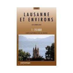 2507. Lausanne et environs turista térkép Landestopographie 1:25 000