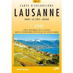 261 T Lausanne turista térkép Landestopographie 1:50 000