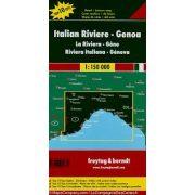 Olasz Riviera - Genova,  Top 10 tipp, 1:150 000  Freytag térkép AK 0608