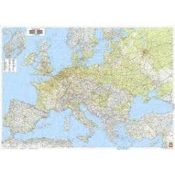 Európa falitérkép, Európa közlekedési-domborzati falitérkép fémléces,1:3 500 000, (126 x 89,5 cm)  Freytag térkép AK 2201 B