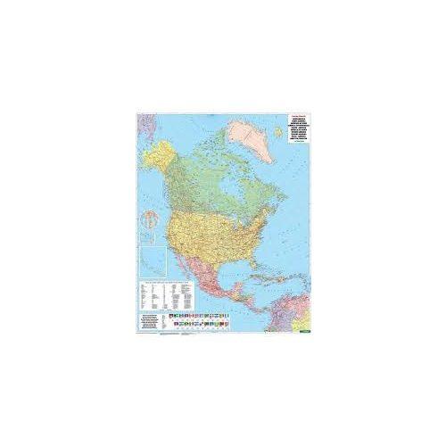 Észak-Amerika falitérkép politikai-domborzati térkép fémléces, műanyaghengerben, 1:8 000 000  Freytag térkép NAM B