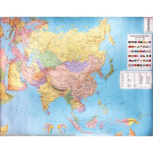 Ázsia falitérkép politikai-domborzati óriás Ázsia térkép műanyaghengerben, 1:9 000 000 Freytag