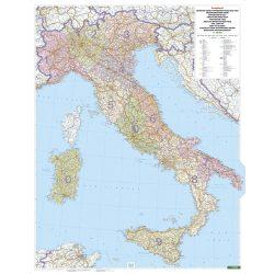 Olaszország postai irányítószámos térkép fémléccel, műanyaghengerben, 1:1 000 000  Freytag