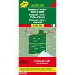 Piemont térkép, Torino térkép, Aosta-völgy, Top 10 tipp, 1:150 000  Piemonte térkép Freytag AK 0619