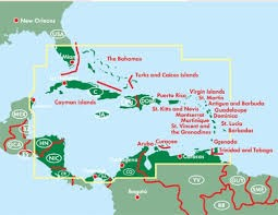 Karib Tenger Hajoutvonalai Karib Terkep Antigua Barbados