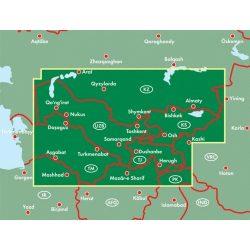 Közép-Ázsia térkép , Dél-Kazahsztán - Tádzsikisztán - Kirgizisztán - Türkmenisztán - Üzbegisztán térkép 1:1 500 000  Freytag AK 155