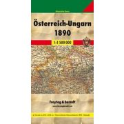 Osztrák–Magyar Monarchia 1890 facsimile, 1:1 500 000 hajtott  Freytag térkép MON 1890