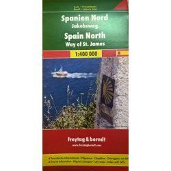 Észak-Spanyolország térkép, Spanyolország észak térkép 1:400 000  Freytag Jakobsveg térkép  2016